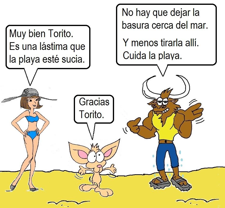 Pepe el toro y taquito en la playa