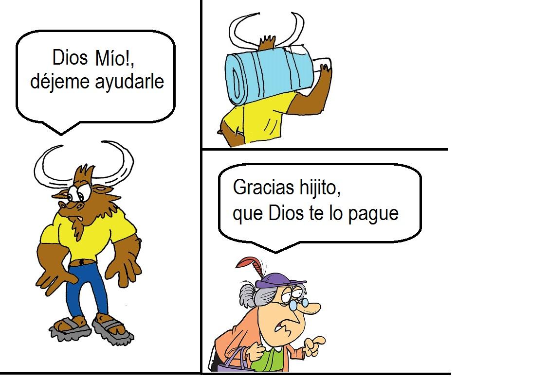 Pepe el toro ayudando
