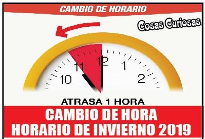 Cambio de Hora, horario de invierno 2019
